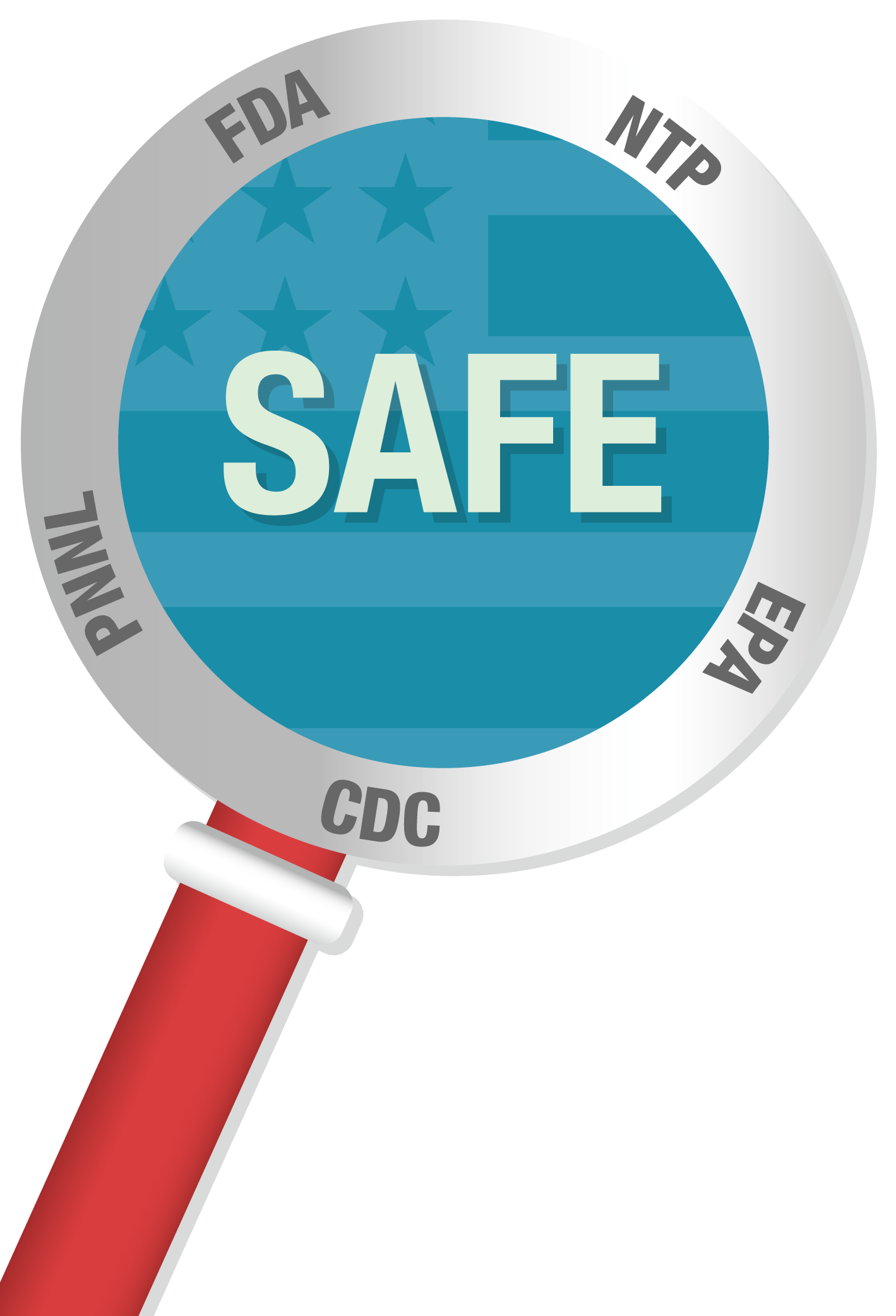 A magnifying glass labeled with the names of U.S. government agencies, including the FDA, CDC, EPA, NTP and PNNL demonstrates all the government agencies that have found BPA is safe., Safe Exposure Limits: A consumer would have to ingest 1,300 pounds of food and beverages in contact with polycarbonate plastic every day to exceed the safe level of BPA set by U.S. government agencies., Silhoutte of human body showing the average consumer's intake of BPA is 2.4 micrograms per day, A plate of food suggests consumers are often exposed to low levels of BPA through food and beverages, A clock represents the fact that the human body metabolizes and eliminates BPA within 24 hours, Microscope with words, No BPA Detected shows no active BPA could be detected after 24 hours, A family represents the idea that consumers of all ages can metabolize BPA, Safe Exposure Limits: Consumer exposure to BPA 1,000 times below safe limit,Laboratory vials with a dropper represent government researchers' toxicity study of BPA, A woman smiling represents the idea that consumers should be confident that science has shown BPA is very unlikely to cause health effects