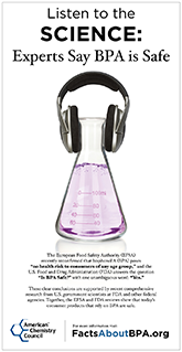 Thumbnail of Listen to the Science Ad shows the user should click to view the full ad that demonstrates science supports the safety of BPA