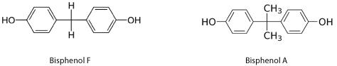 Molecular representation of Bisphenol F and Bisphenol A